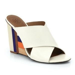 Tory Burch Ivory Color Block Wedge Mule Sandals